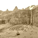 The falls and upper cliffs - in Sepia