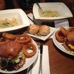 Pesto pasta with shrimp, D.C. burger (w/ mac -n- cheese), Kansas City burger (w/ pulled pork, sl