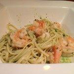 Pesto pasta with shrimp.