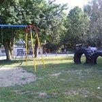 Freshly painted playground equipment