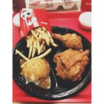 Chickenjoy with fries and mashed potato.
