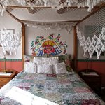 The bed and canopy in the Sonrisa Room