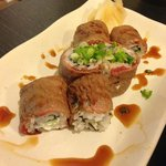 Beef rolled sushi