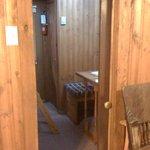 Caboose 4: Pocket door separates bunk beds from main bedroom area