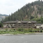 View of the hotel from across the river