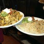 Our Chicken Nachos and Veggie Quesadilla