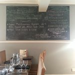 Specials board and desserts
