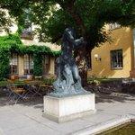 Museum garden with statue