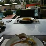 Buffet breakfast by the pool