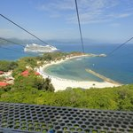 View of the Allure of the Seas from the top of the zipline