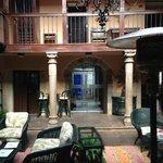 Indoor courtyard leading into breakfast room