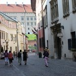 Walking to Krakow's Market Square (a block from hotel)
