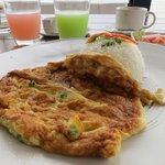 breakfast (Thai style omlet on rice)