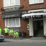 Riders pose at Belgrave Hotel front