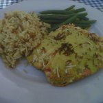 Beach House panko-crusted salmon w/coconut curry sauce