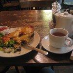 Welsh rarebit with black pudding and Darjeeling tea