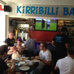 Enjoying our takeaway and the football before the Stag night