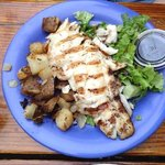 Red snapper, salad and home fries