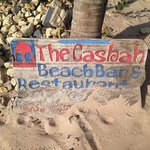 Sign for the Casbah beach bar at the hotel