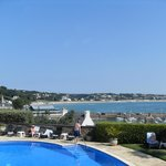 View of St Aubin's bay from hotel pool area