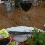 Lunch and a glass of excellent red.