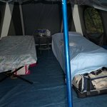 Luxury tent camping, with soft floor.
