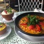 moqueca, farofa and rice