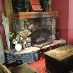 Fireplace in the restaurant area