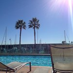 Siiting by the pool in Marina del Rey