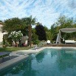 Vue sur la piscine et le lit balinais