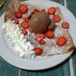 Pancake with strawberries cream & chocolate ice cream YUM!