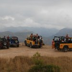 All the jeeps on the top of the mountain