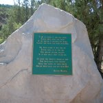 Rock monument holding the poem by Dennis Weaver