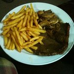 Steak mushrooms and French fries