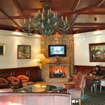 One of the warm and inviting lounges near the entry and restaurant