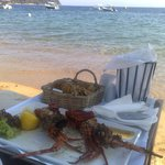 Lobster served on the beach of Princess Skiathos