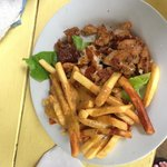 Red snapper and jerk cheese fries at the beach grill. Made by fantastic Opal