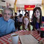 With Grandad in the Beach Cafe Penmaenmawr.