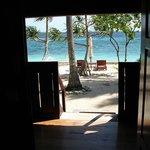 looking out bungalow door