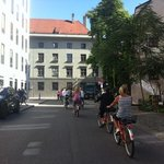 Cycling through Munich on a sunny day