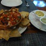 Nachos and dips. The garlic mayo (green) was really good!
