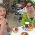 taking breakfast with granita con panna.