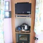 TV, stove and tea making area