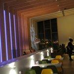 Mareel Cafe Bar, Mezzanine, evening view with dynamic illuminations
