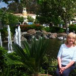 Ina by the lake with fountains