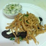 Black and Blue Ribeye with Onion Straws Special