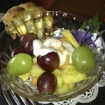 Breakfast fruit and scone