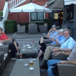 Our group enjoying drinks by the outside bar