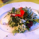Warm Goat Cheese and Red Wine Pear Salad