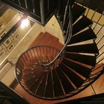 View down spiral stairs from cupola